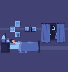 man sleeping in bedroom at night flat cartoon vector image