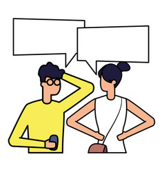 man with smartphone and woman talk bubble vector image