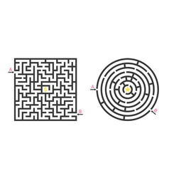 maze game labyrinth with find way puzzle square vector image