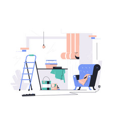 Messy room with scattered stuff vector