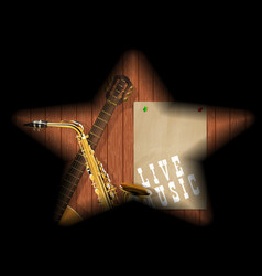 musical boards guitar sax shadow vector image
