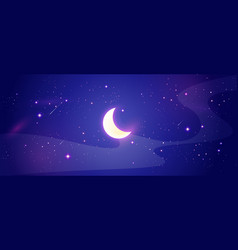 night sky scene with shiny moon and stars vector image