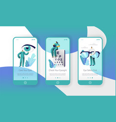 ophthalmology doctor test eyesight mobile app vector image