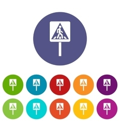 Pedestrian sign set icons vector