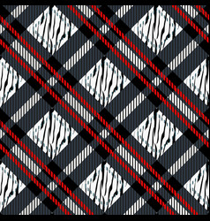 plaid tartan seamless with zebra stripes pattern vector image