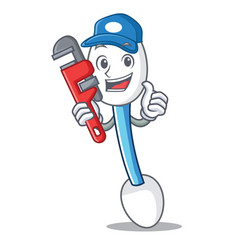 Plumber cotton swab mascot cartoon vector