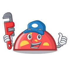 Plumber semicircle mascot cartoon style vector