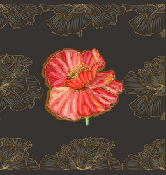 Retro pattern gold poppies ornament in art vector