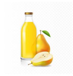 Ripe pears juice in glass bottle vector