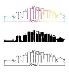 Riyadh V2 skyline linear style with rainbow vector image