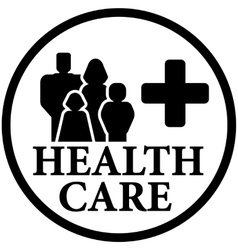 round health care icon with family vector image
