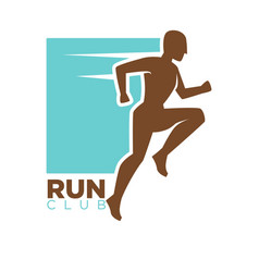 Run club logotype design with running man vector