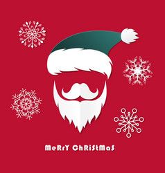 santa claus hat and beard in christmas dayorigami vector image