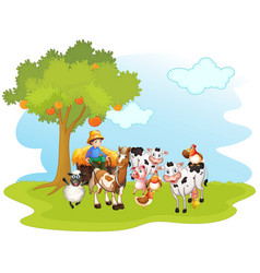 Scene with farm animals vector