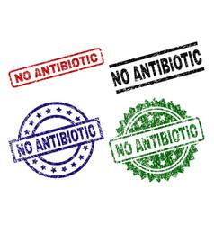 Scratched textured no antibiotic stamp seals vector