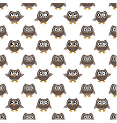 Seamless pattern with brown owls vector