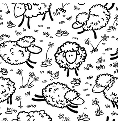 seamless with sheeps vector image