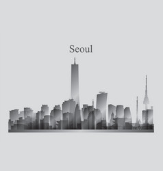 Seoul city skyline silhouette in grayscale vector