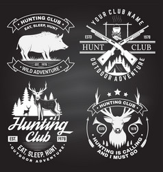 Set hunting club badge on chalkboard vector