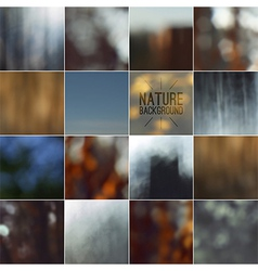 Set of bokeh nature blurred backgrounds vector