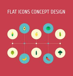 set of fruit icons flat style symbols with avocado vector image