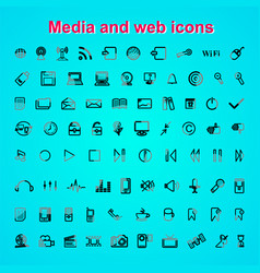 Set outline quality icon media and web icons vector
