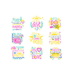 short possitive messages colorful hand drawn vector image