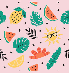 summer seamless pattern summer background vector image