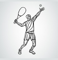 tennis player black creative silhouette vector image