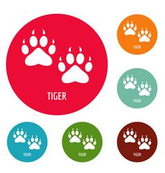 Tiger step icons circle set vector