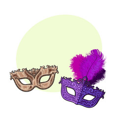 Two decorated venetian carnival masks with vector
