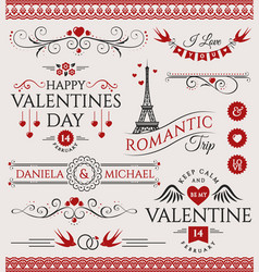 valentines day and wedding design elements vector image