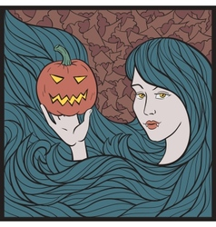 Vampire Girl With a Pumpkin vector image