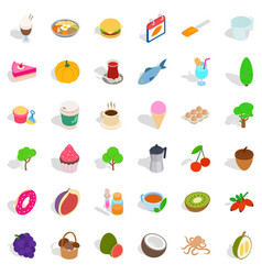 Vegetarian cafe icons set isometric style vector