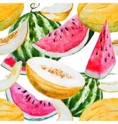 Watercolor watermelon melon pattern vector