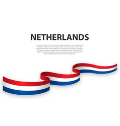 Waving ribbon or banner with flag netherlands vector