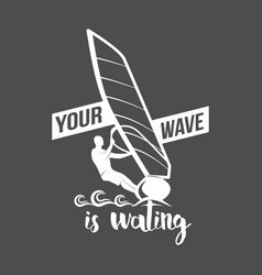 windsurfing badge and logo vector image