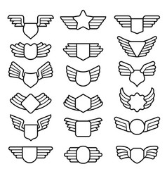 Wings shields air army emblems or badges flight vector
