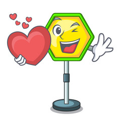 with heart road traffic sign on the cartoon vector image