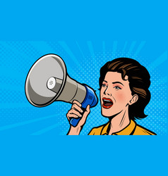 woman shouting loudly into loudspeaker retro vector image