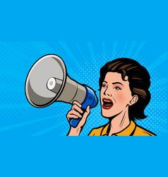 Woman shouting loudly into loudspeaker retro vector