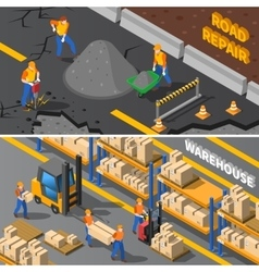 Workers Isometric Banners Set vector image