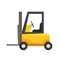 Yellow forklift truck warehouse machinery vector