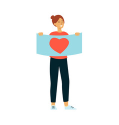 Young smiling woman holding placard with heart vector