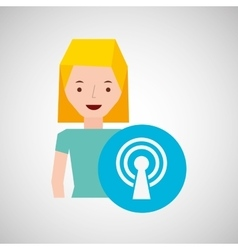 cartoon girl wireless internet design vector image