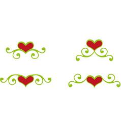 Floral heart elements vector