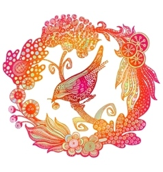 Hand drawn bird in the wreath vector image vector image