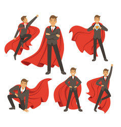 powerful businessman in different action superhero vector image