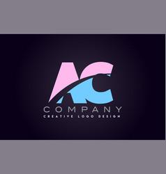 ac alphabet letter join joined letter logo design vector image vector image