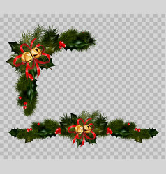 christmas decoration set of fir and holly wreath vector image vector image